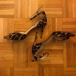 Vince Camuto Leopard Print Open Toed Heels